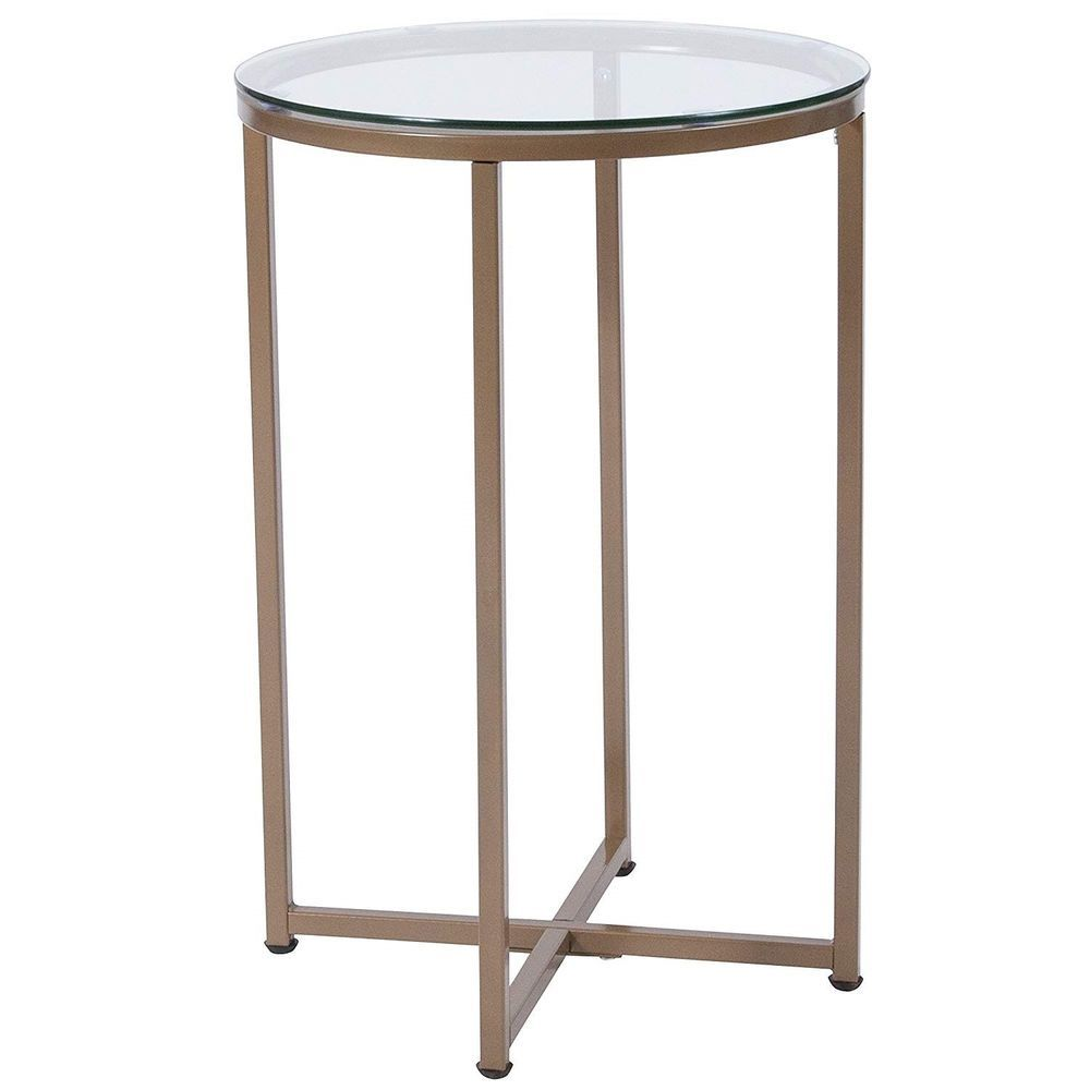 Glass round end table furniture living room modern accent side gold