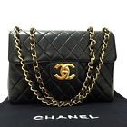Auth CHANEL Jumbo Matelasse Quilted Black Lambskin w/Chain Shoulder Bag/222