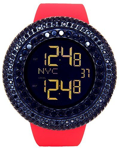 Jojino Jet Black Lab Made Stones Watch All Blacked Out Case Mens Digital Watch Red Band Visit The Image Mens Digital Watches Digital Watch Joe Rodeo Watches