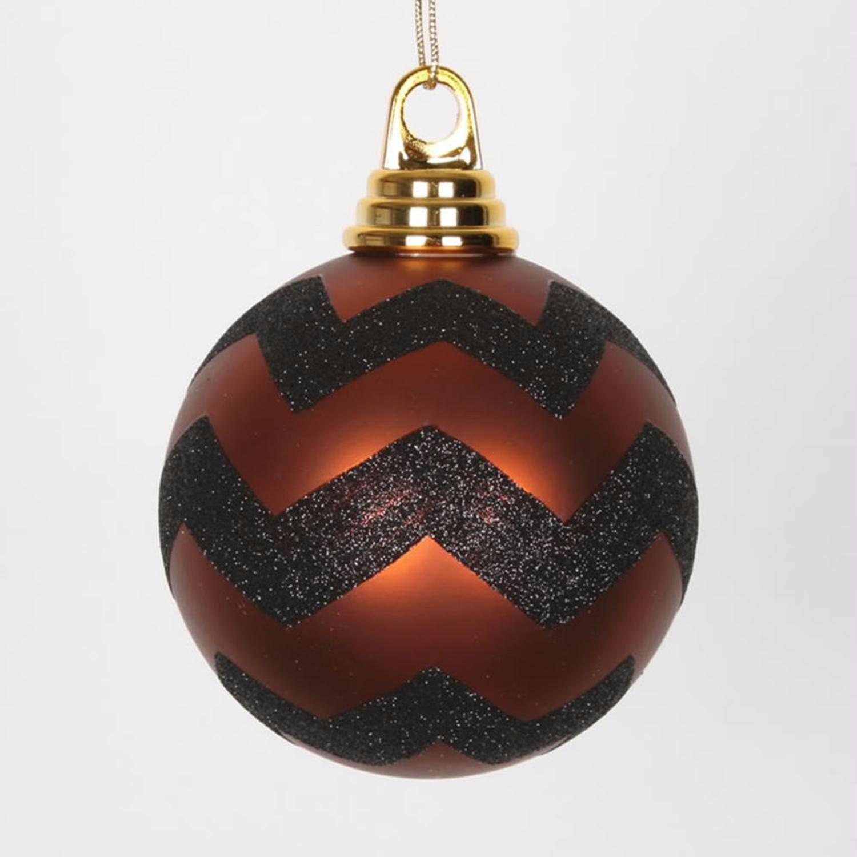 Copper Matte And Black Glitter Chevron Shatterproof Christmas Ball Ornaments