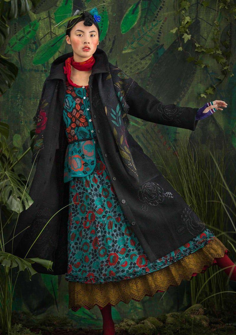 Skyttla Wool Blend Coat Black Organic Clothing Women Organic Clothing Boho Jacket [ 1135 x 800 Pixel ]