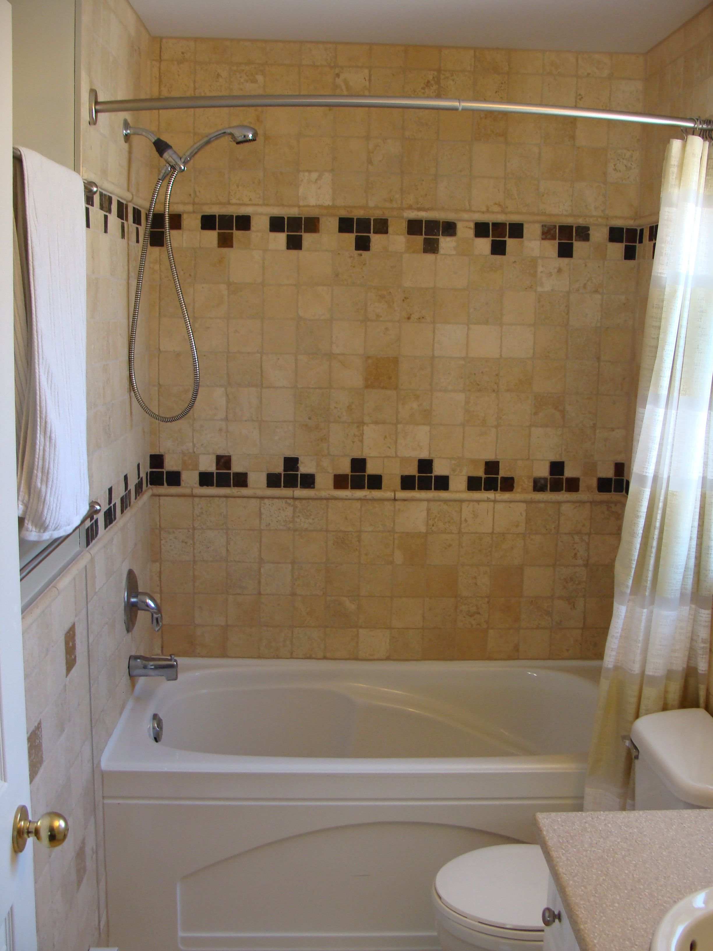 tile tub with shower | Tile tub surround use black and pink in bands ...