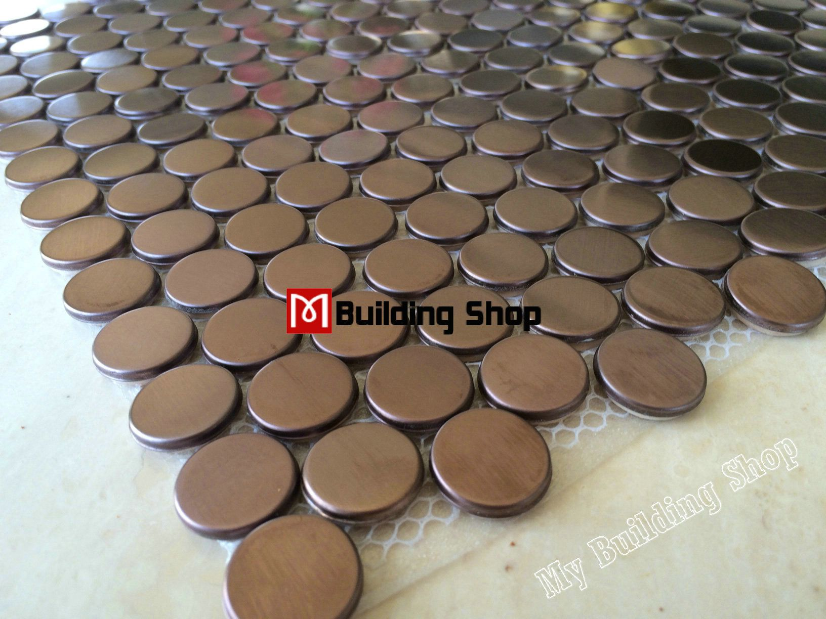 Penny round mosaic tile SMMT020 gold metal mosaic wall tiles ...