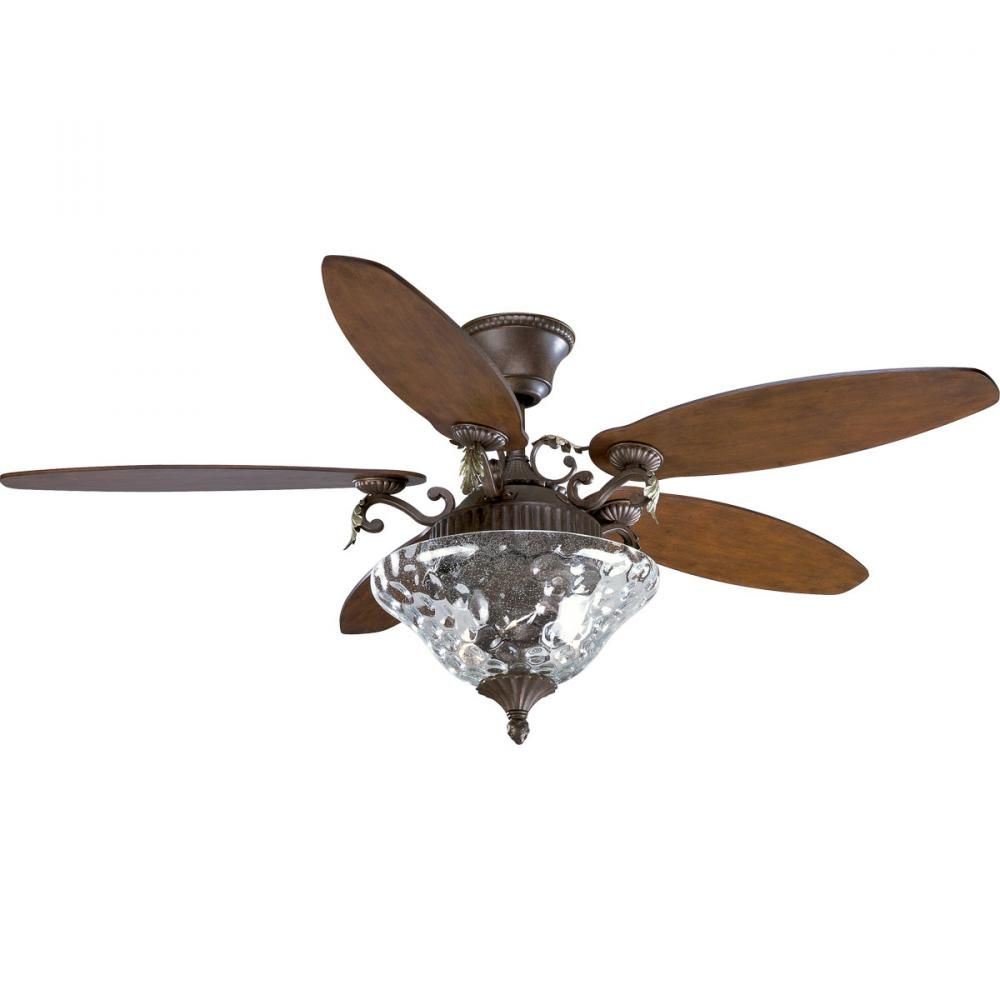 Three Light Clear Hammered Seeded Gl Ceiling Fan Sku