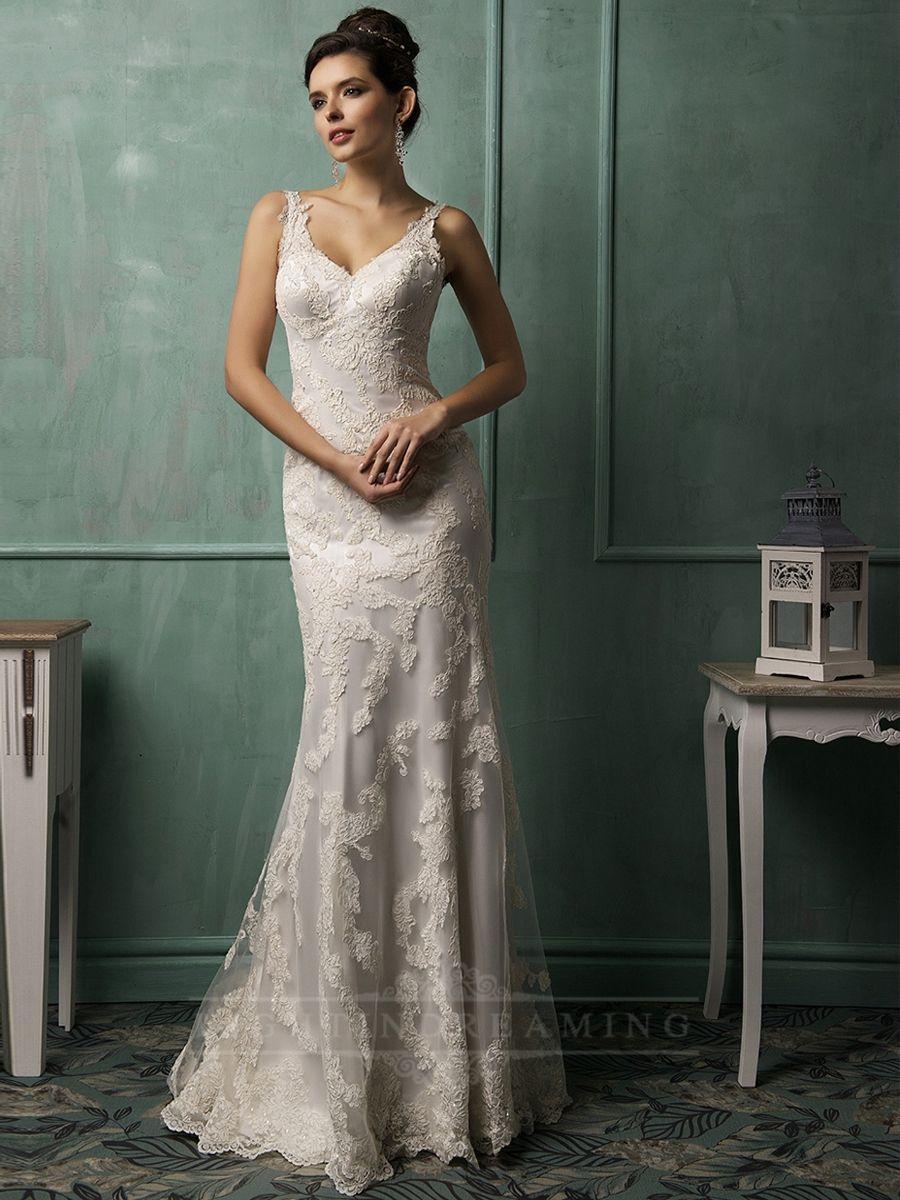 Straps vneckline lace low backless wedding dress lightindreaming