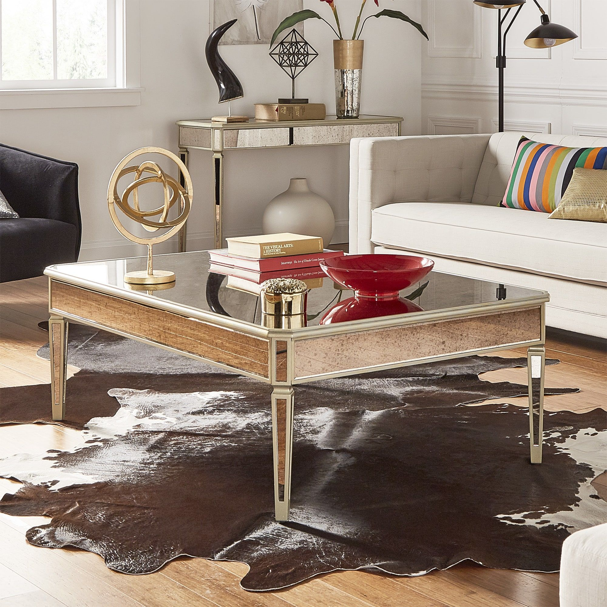 Clara antique gold mirrored accent tables by inspire q bold 2 piece set coffee table and end table
