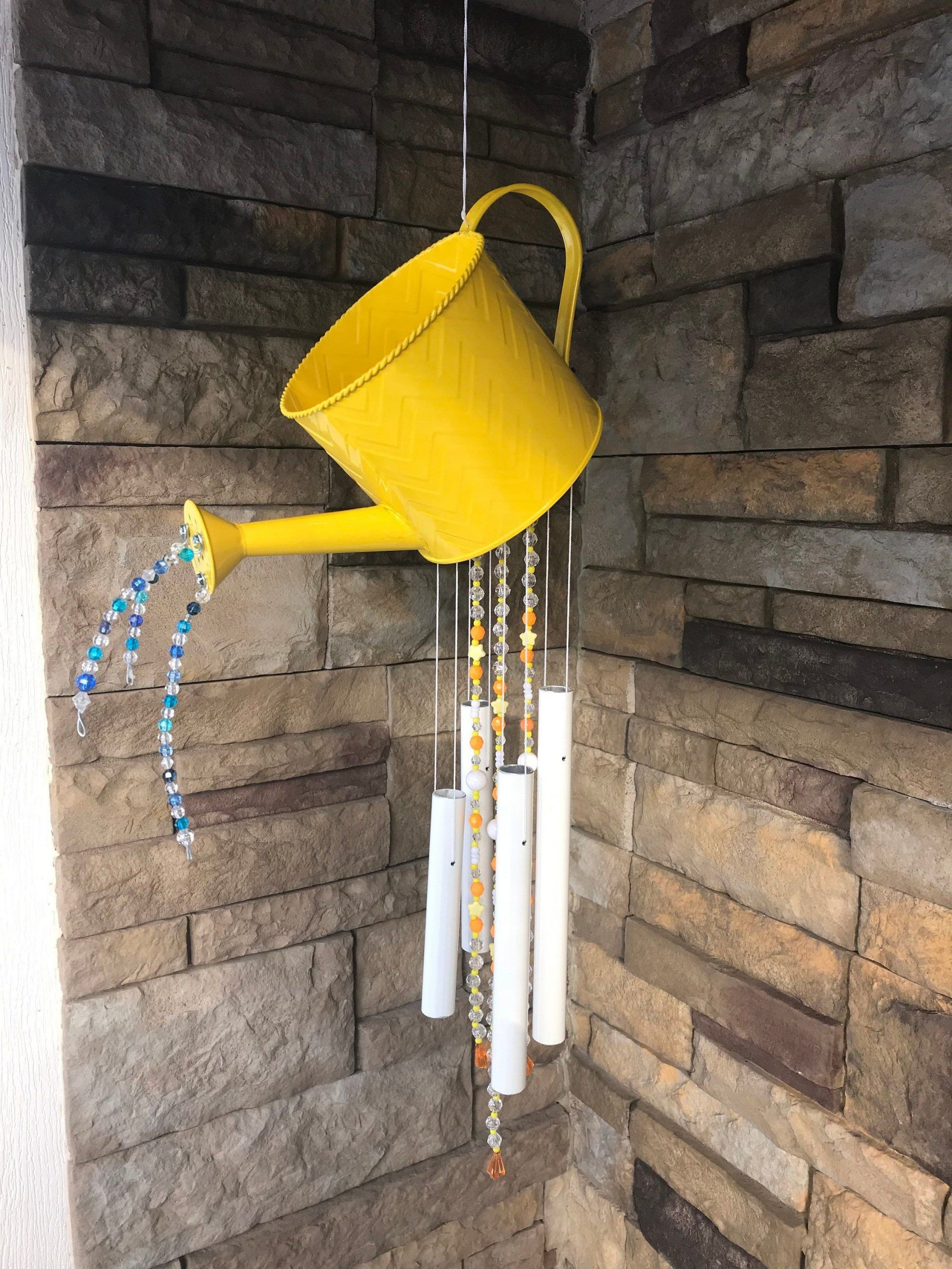 Adorable Bright Yellow Watering Can Wind ChimeYellow and Orange Garden DecorMeadorable