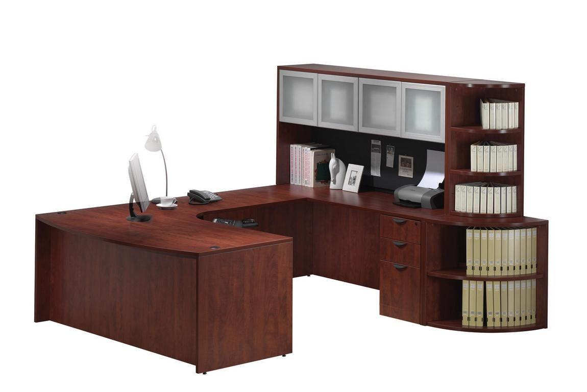 Curved U Shape Desk With Bookcase Storage Bookcase Storage Desk Office Design