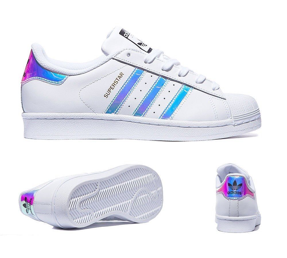 watch 97e9c ce106 Adidas Super Star (GS) White Metal Silver Women Girls Boys  Trainer All  Sizes