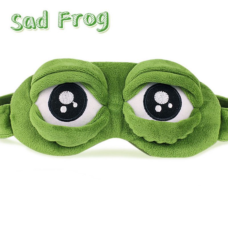 3D 슬픈 개구리 수면 마스크 나머지 여행 휴식 수면 보조 눈가리개 아이스 커버 아이 패치 마스크 케이스 애니메이션 코스프레 의상