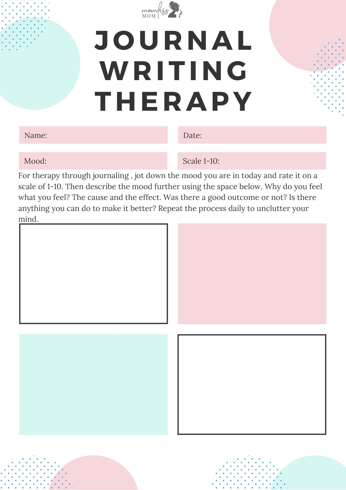 Journal Writing Therapy Free Printable