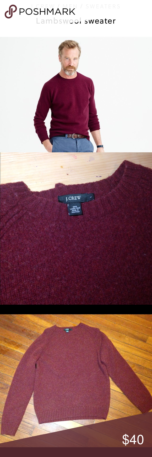 ❤️J. Crew Lambswool Burgundy Men's Sweater ❤️❤️❤️ 100% Lambswool Burgundy Men's size large Sweater by J.Crew. Have your Hubby stay warm this winter with this high quality wool material. Beautiful burgundy color! Long sleeves, crew neck cut neckline. Pullover style J. Crew Sweaters Crewneck