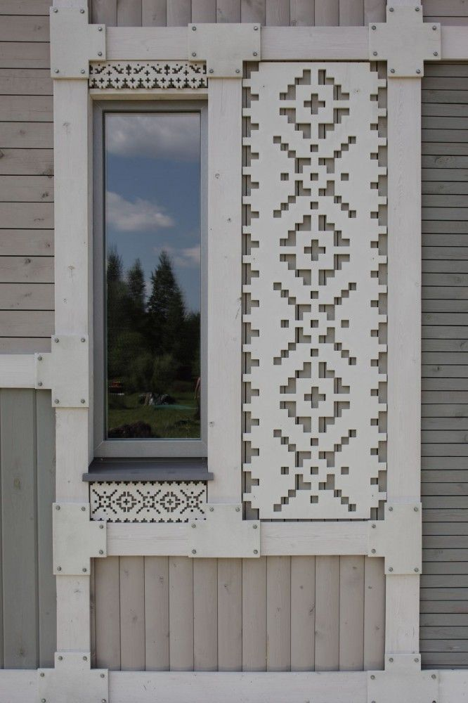 graphical embroideries framing windows