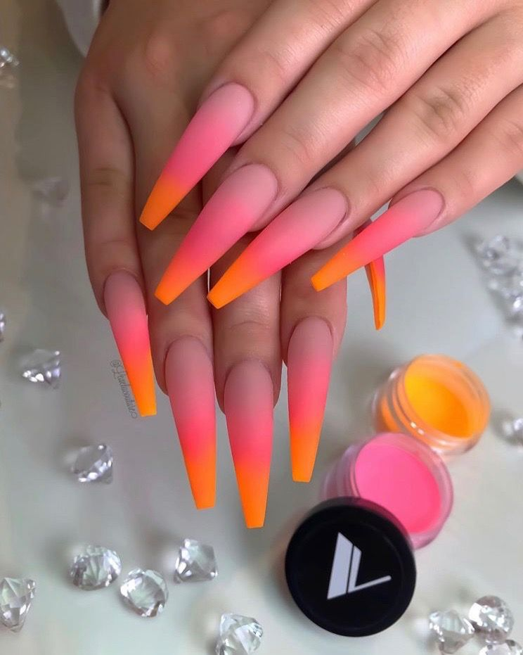 Blended Nails : blended, nails, Acrylic, Blended, Colors, Ombre, Nails,, Coffin, Nails, Designs,