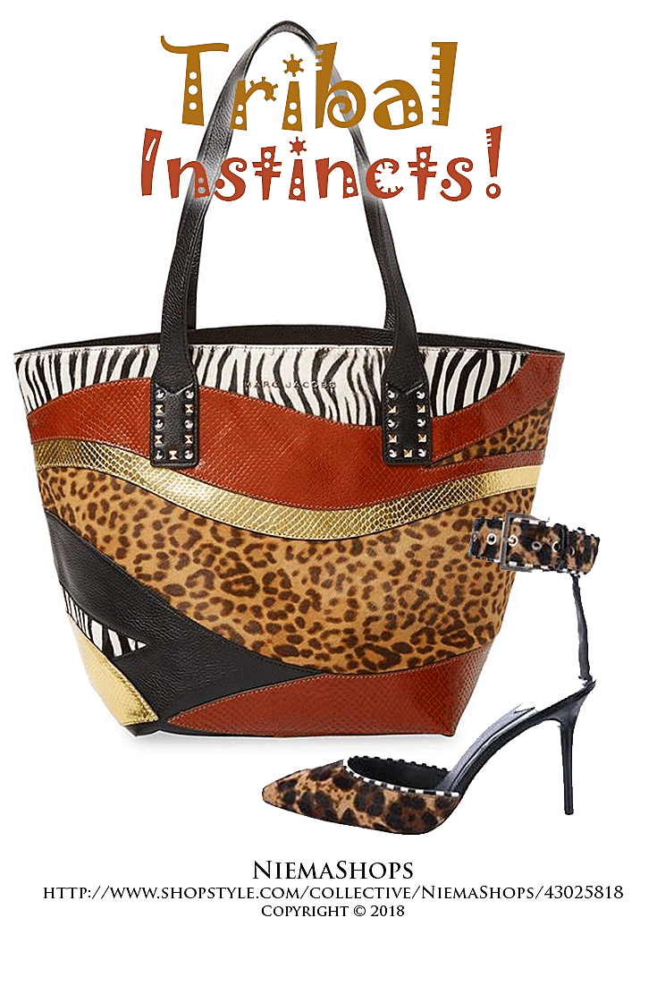 45332d553654 Pictured:` animal patchwork tote crafted in leather and calf hair, brown &  tan pony-hair by Brian Atwood; pointed-toe pumps with white and black  striped ...