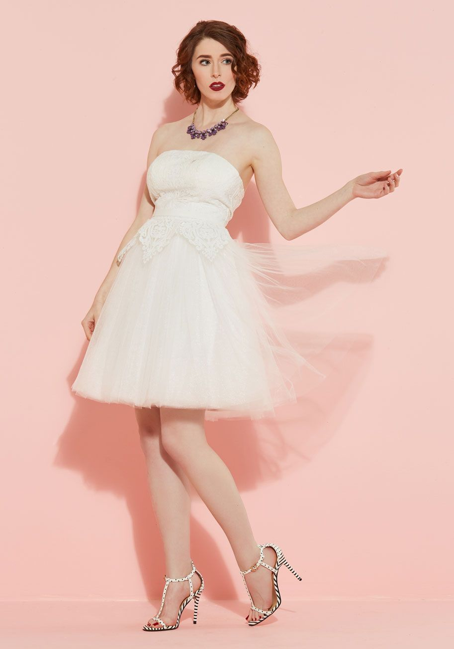 Pink cocktail dress for wedding  Chi Chi London Tulle Love and Cherish Lace Dress in White  ModCloth