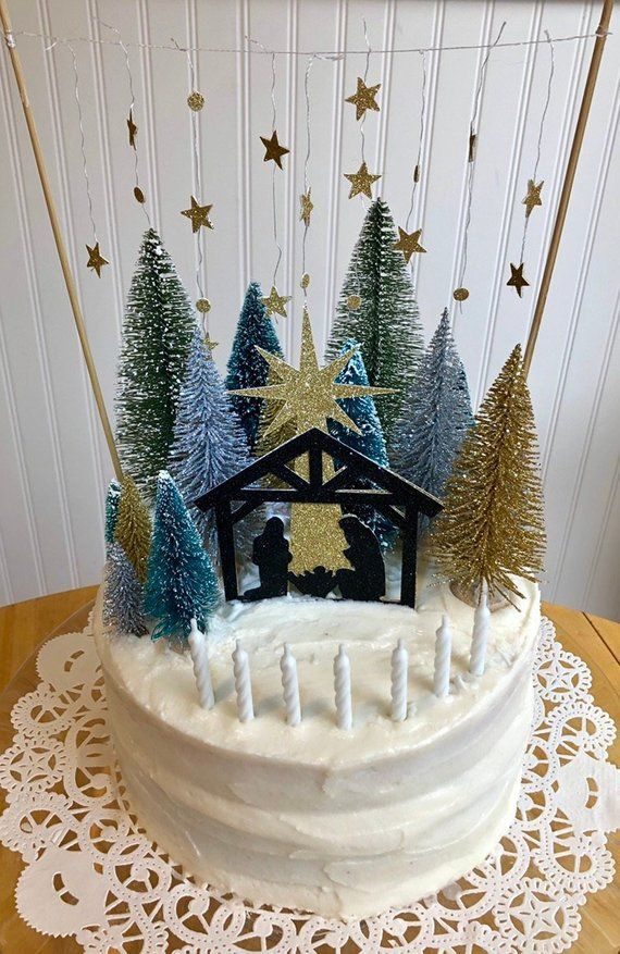 Nativity Cake Topper Happy Birthday Jesus Products Cake Toppers