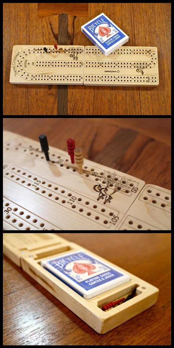 Solid Maple Travel Cribbage Board 2 player Premium Quality