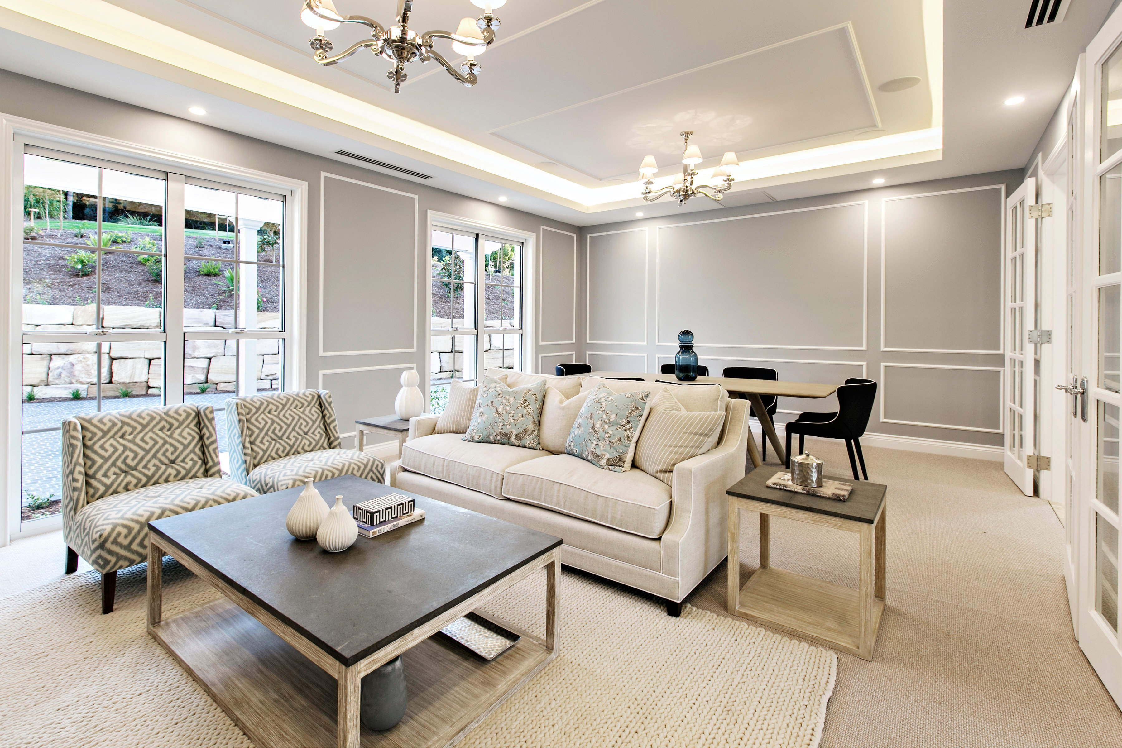 Amazing formal room with timber trims and ceiling led lighting ...