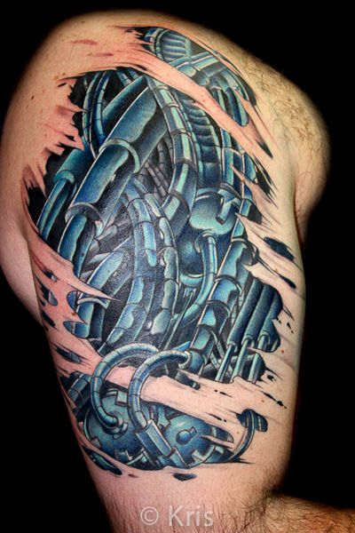 Bio mechanical tattoo by professional tattooist kris for Inkslingrz professional tattoos and body piercing