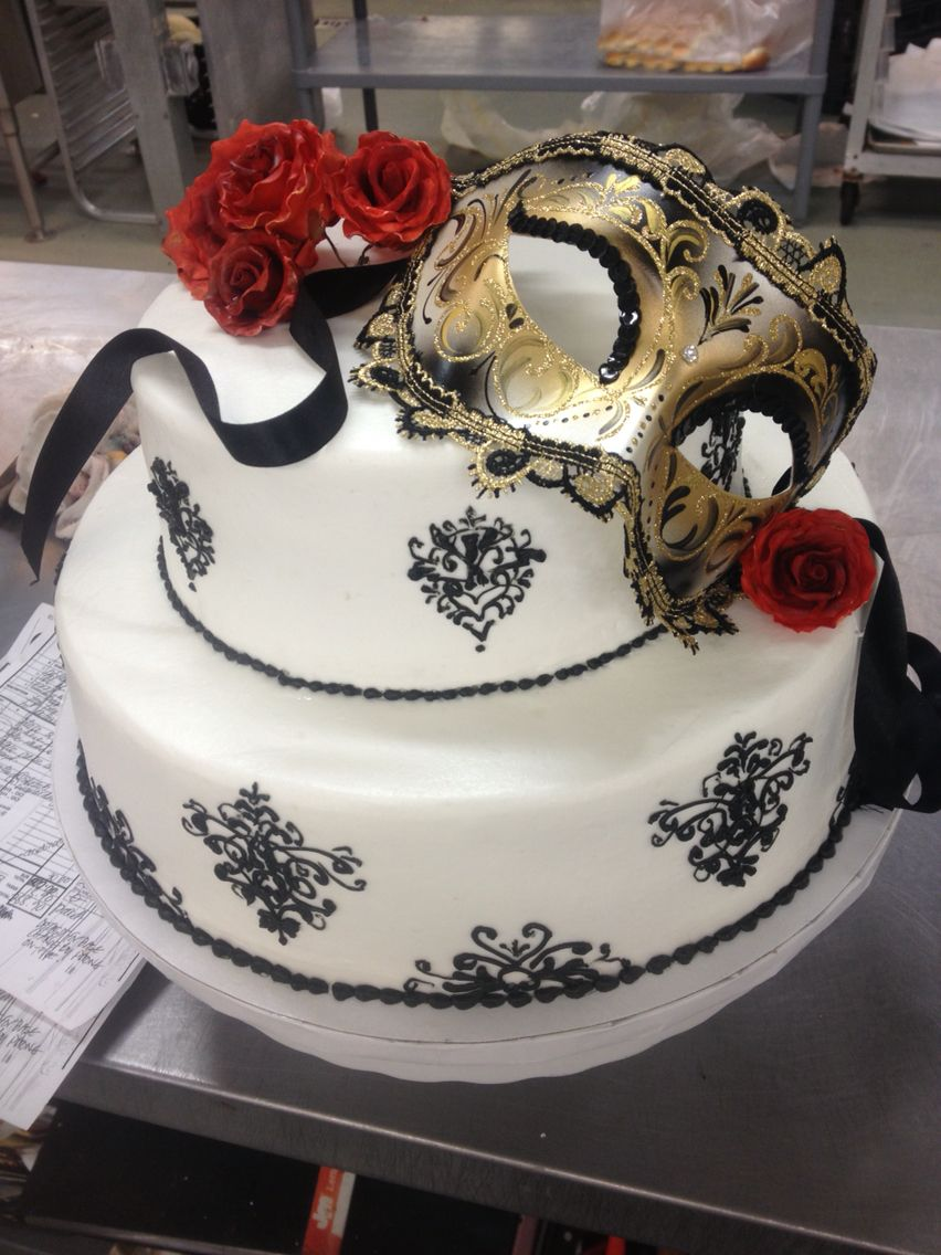 Two Tiered Masquerade Themed Cake With Black Ornate