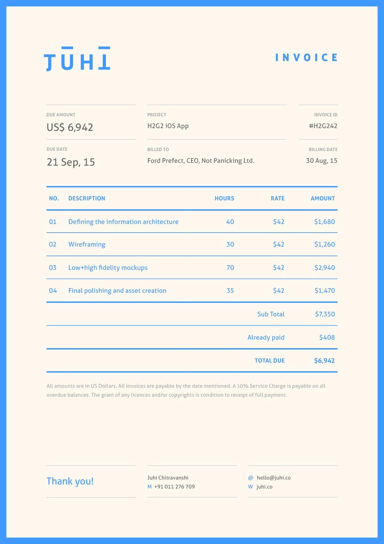 juhi chitravanshi invoice modern bright colorful minimal invoice