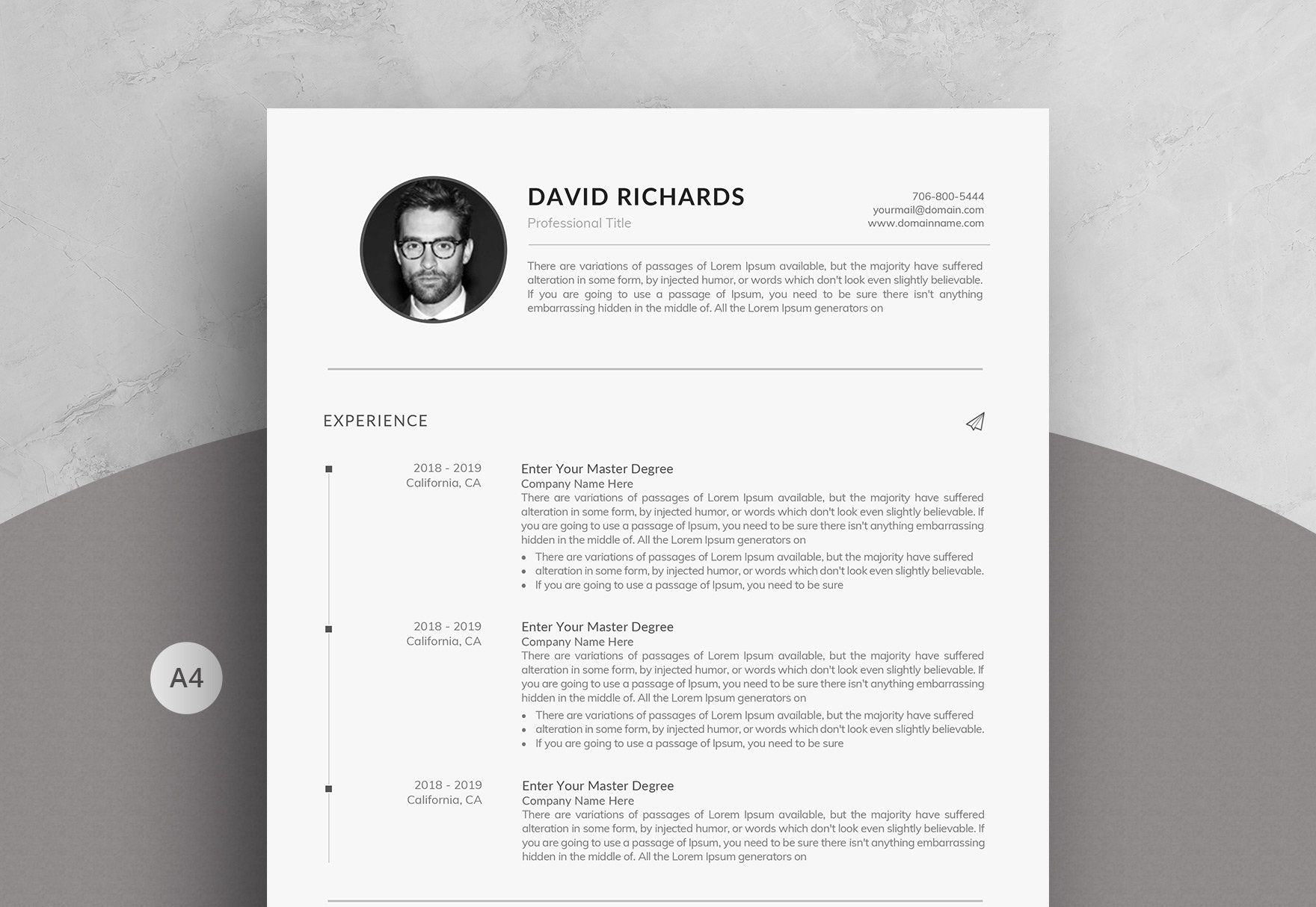Minimal One Page Resume Template In Word Etsy One Page Resume Template One Page Resume Unique Resume Template
