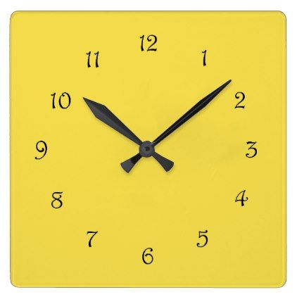 Black Script Numbers On Yellow Wall Clock - black gifts unique cool ...