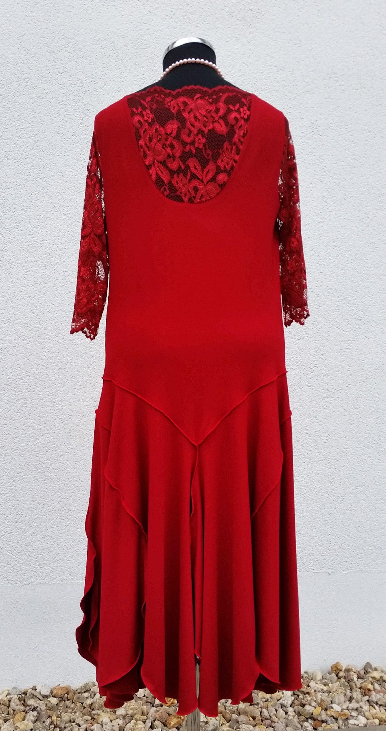jersey kleid rot im 20er jahre stil rücken mit