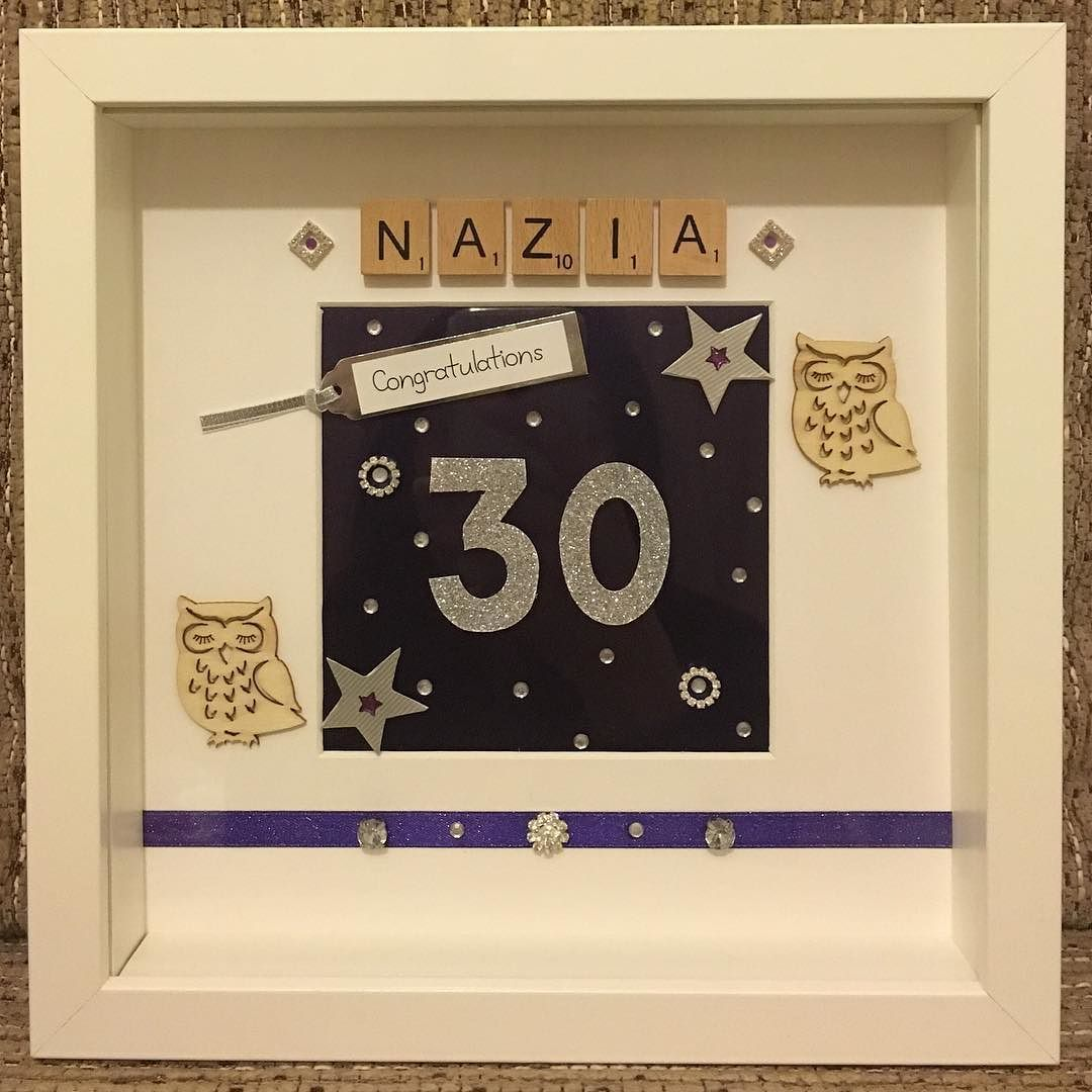Personalised 30th Birthday Frame Handmade Handcrafted Personalisedframes Birthday Purple Silver Owl Crystals Birthday Frames Handmade Frames Handmade