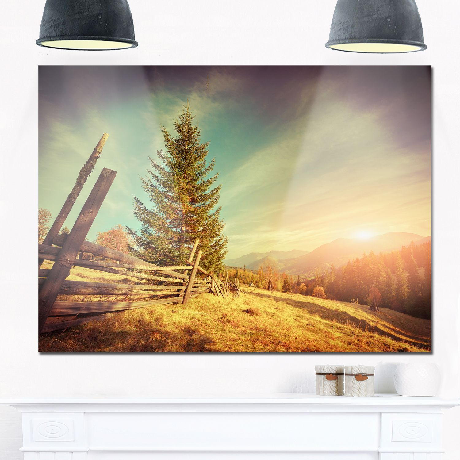 Retro Style Autumn in Mountains - Landscape Photo Glossy Metal Wall ...