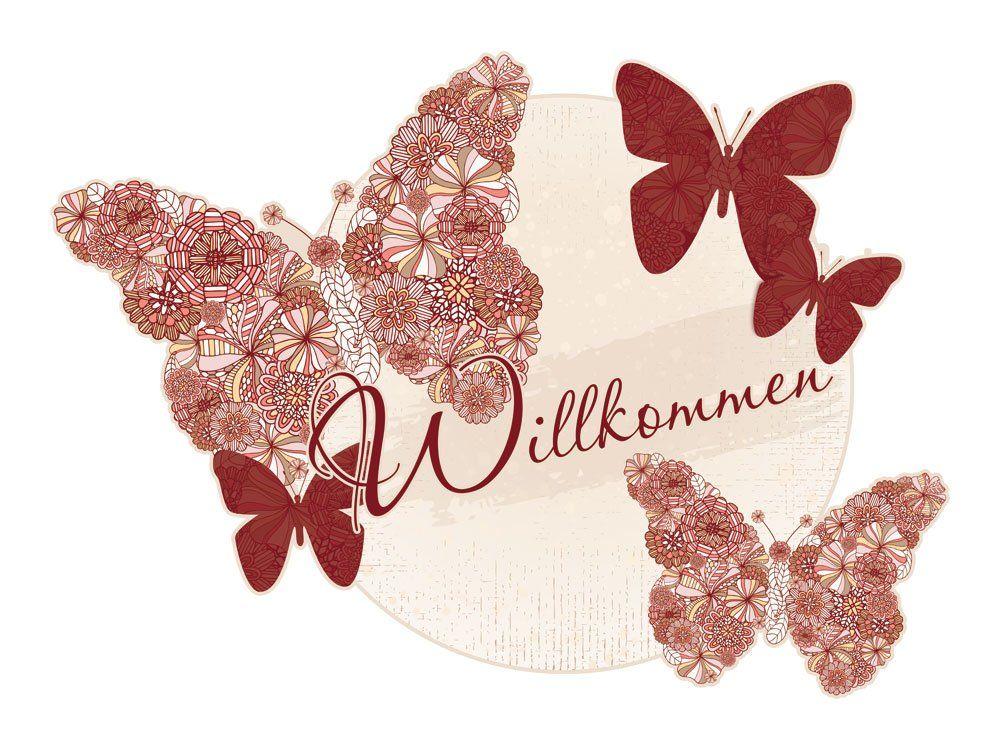 Wandsticker Sticker Aufkleber Blumen für Flur Willkommen Spruch Schmetterlinge (Größe=42x30cm)
