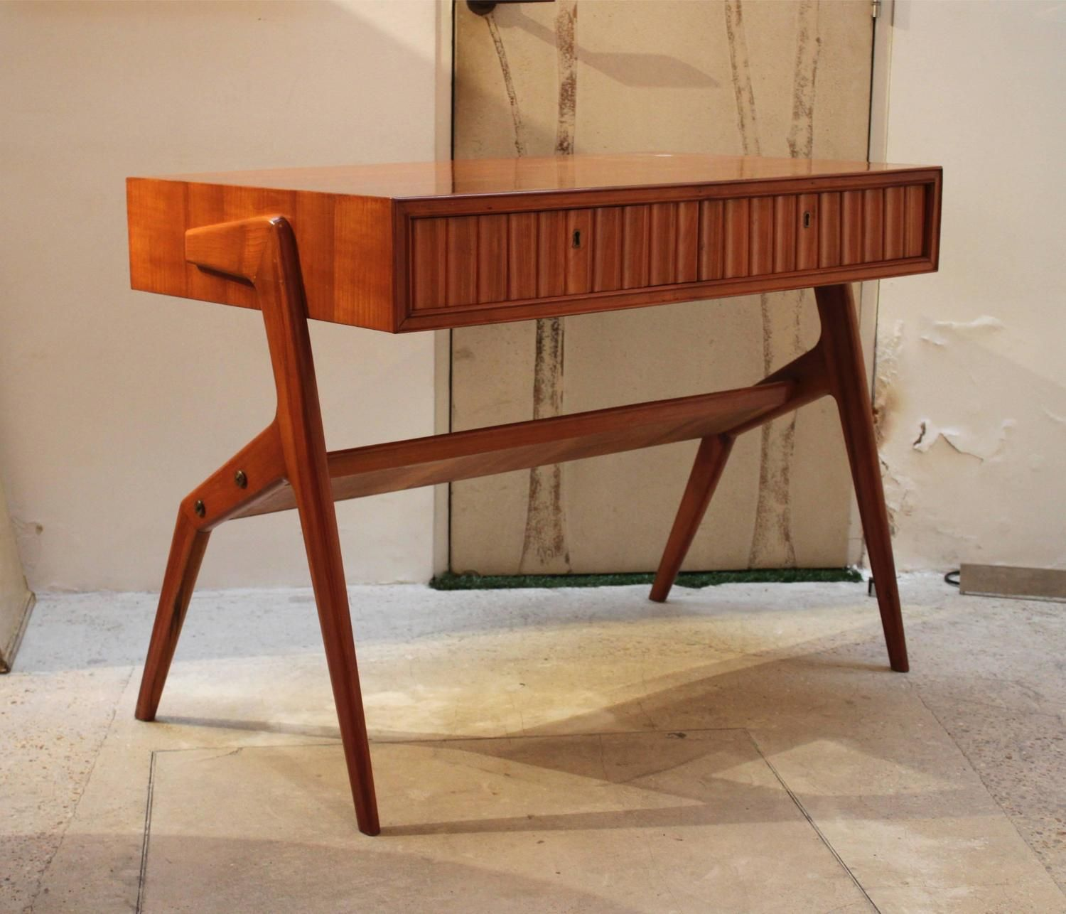 Mid Century Retro Vintage Hall Table Console Writing Desk In The Style Of Ico Parisi