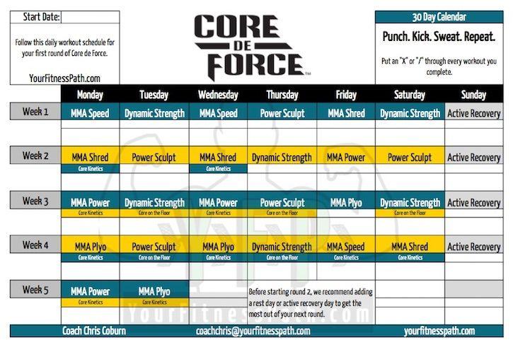Core De Force Workout Calendar Base Kit  Beach Body