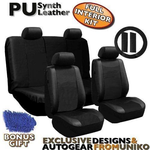 Unique Leather 10pc Car Seat Covers Black Detailing Wash Mitt AIR Freshener Color
