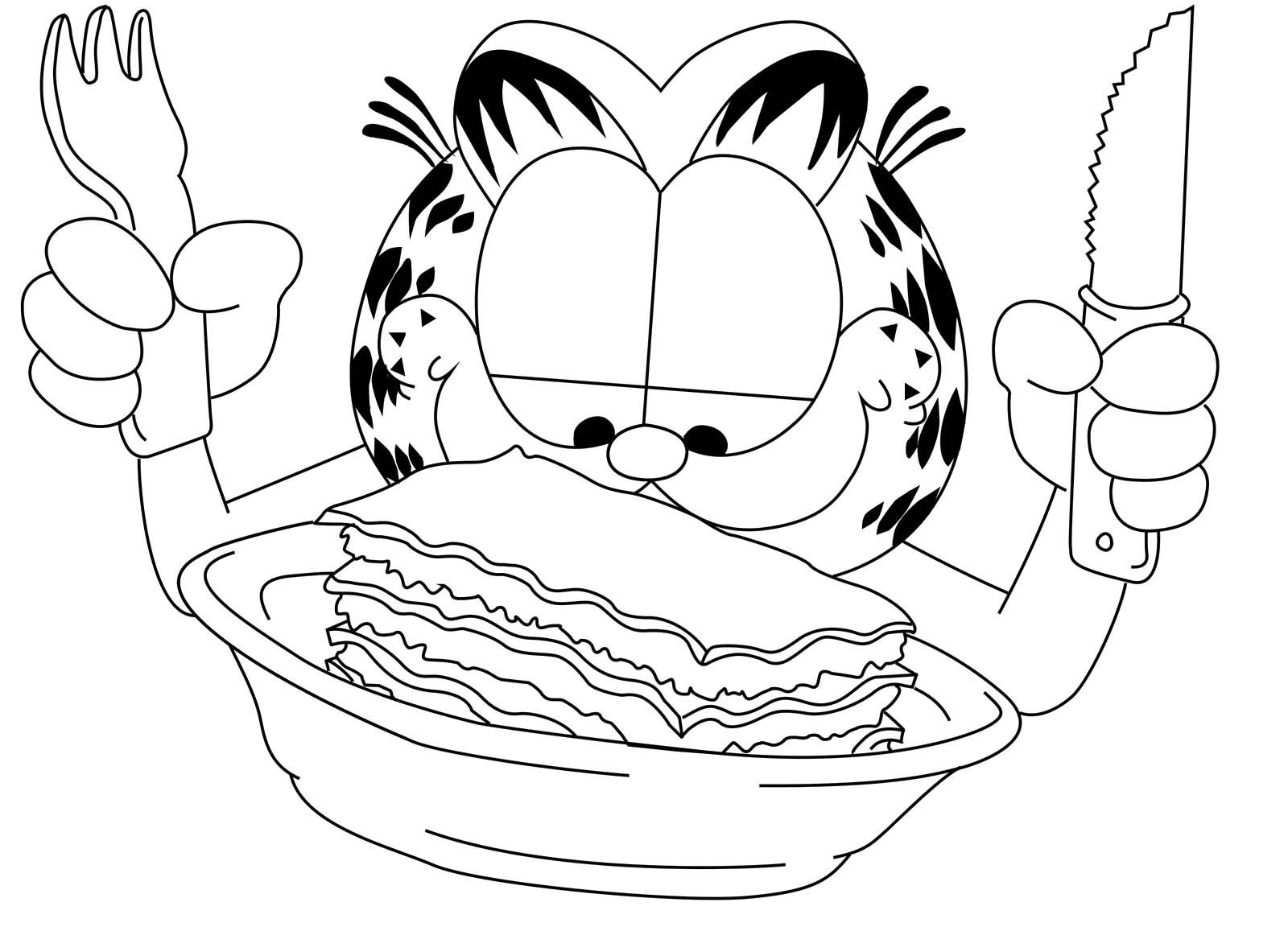 Garfield Wanted To Cut The Cake Using A Knife And Fork Coloring Page ...