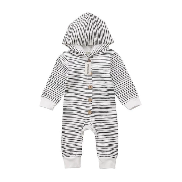 Newborn Unisex Stripes Romper Long Sleeve Jumpsuit Clothes Winter Outfits Set