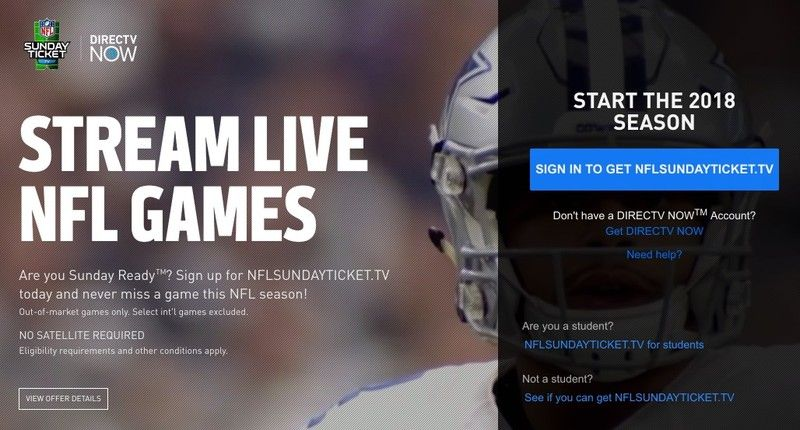 DirecTV Now adds NFL Sunday Ticket access — but only in a
