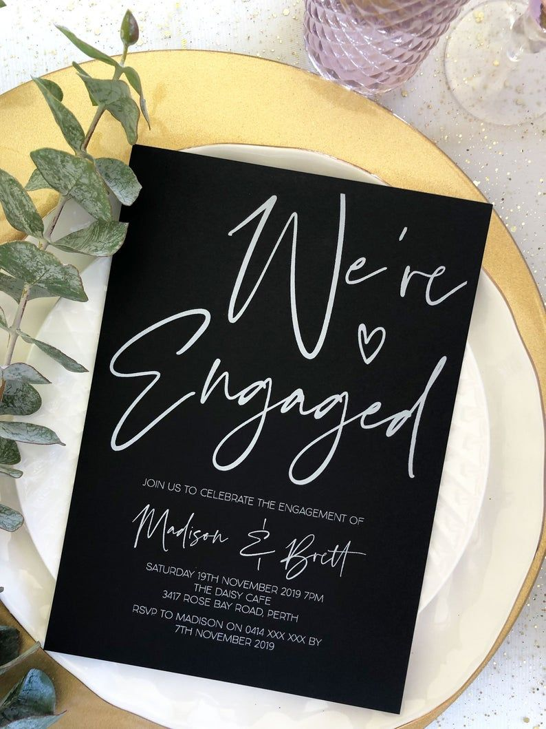 Black and White Printed Elegant Engagement Invitations
