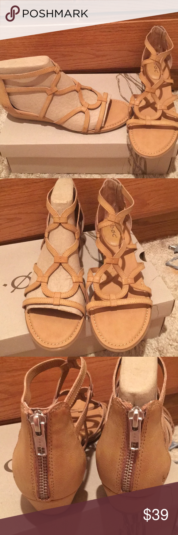 35d6a2515b4 😃HP NWT B.O.C. Born Concept Pawel natural sandals New in box BOC by born  concept natural Pawel sandal gladiator style zip up back