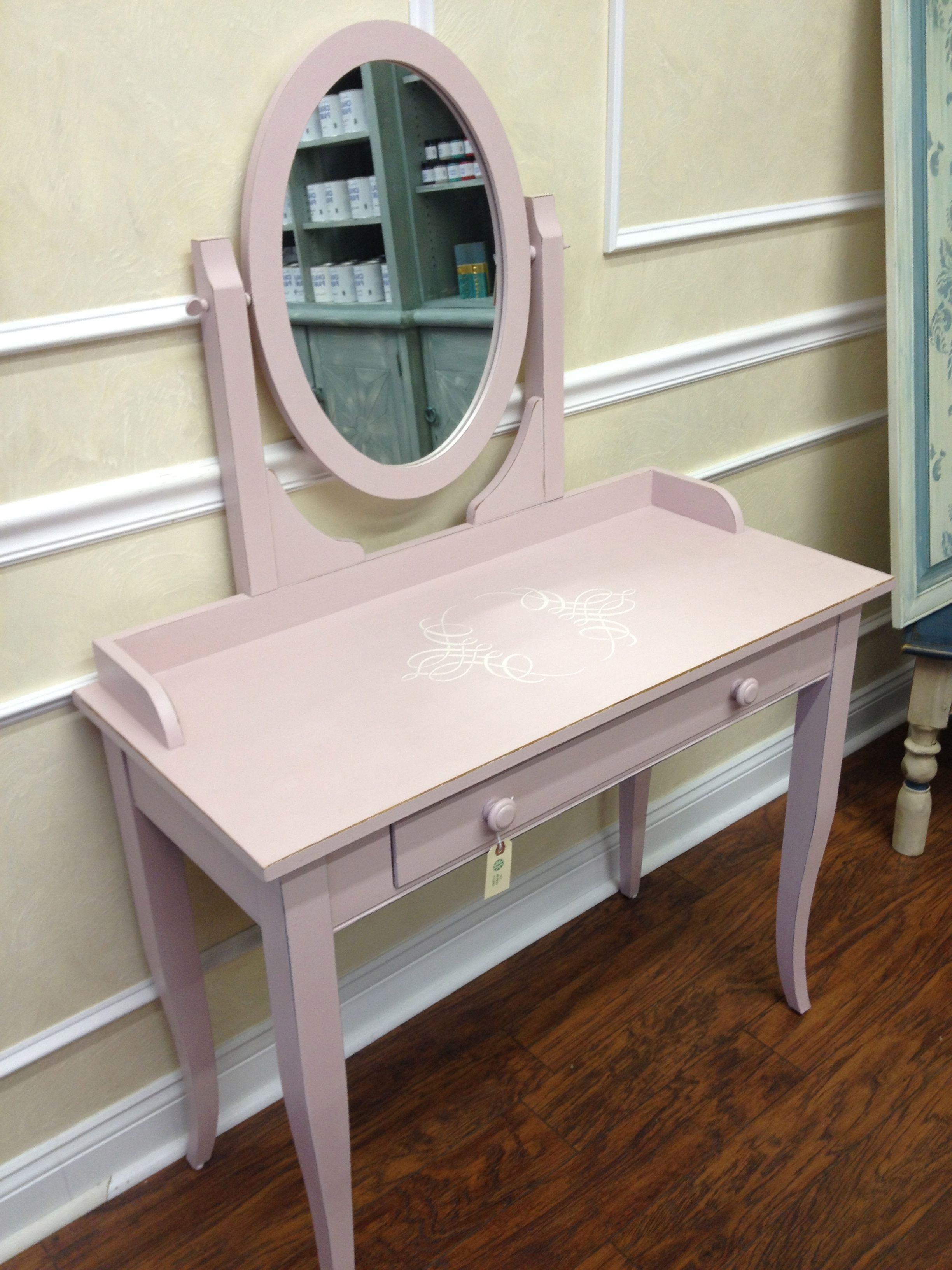 Photo On Ethan Allen Vanity redesigned with Chalk Paint Antoinette and stenciled in Old White Custom