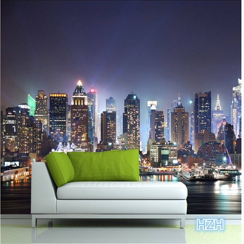 Manhattan 3d papel de paede, New York City large mural wallpaper ...