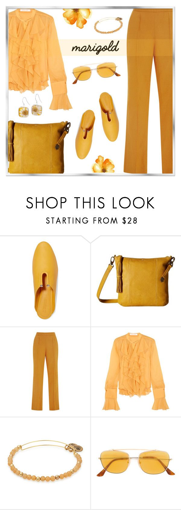 """""""Stay Golden: Dressing in Marigold"""" by rasa-j ❤ liked on Polyvore featuring Mercedes Castillo, Lucky Brand, Rosie Assoulin, See by Chloé, RetroSuperFuture, womensFashion and marigold"""