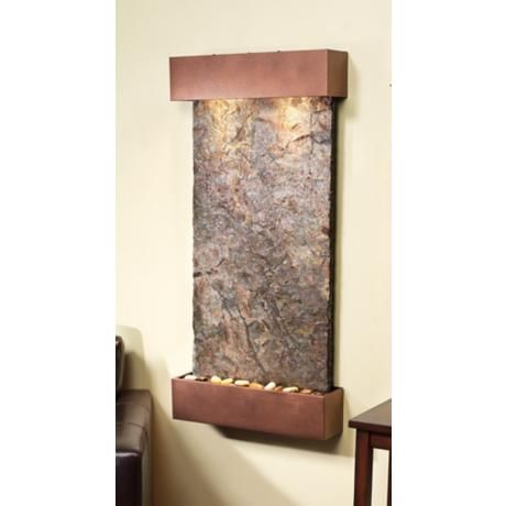 Whispering Creek 46 High Slate Wall Fountain With Light 6v379
