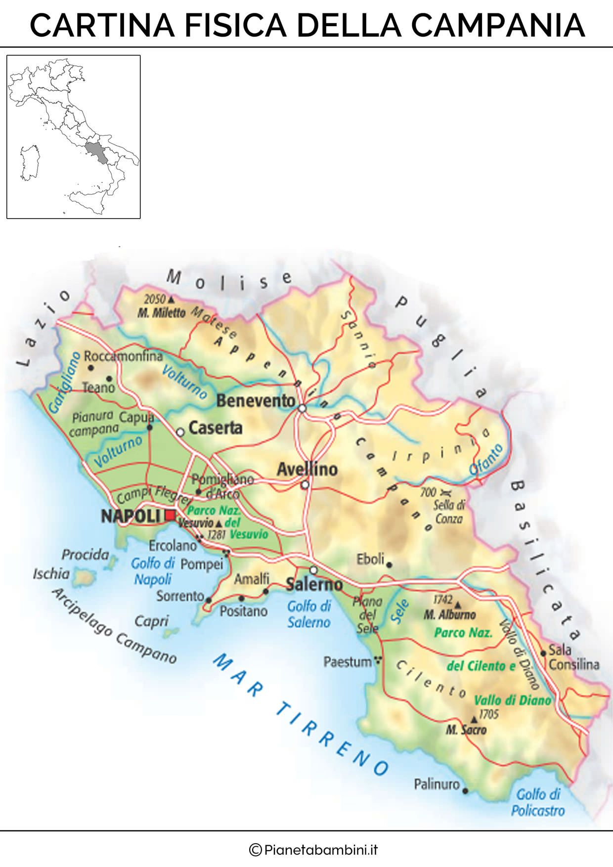 Cartina Fisica Lazio Da Stampare.Cartina Muta Fisica E Politica Della Campania Da Stampare
