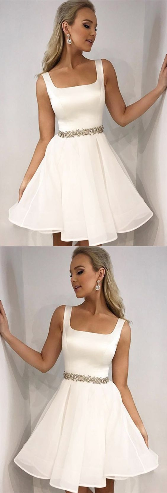 Cute a line square neck open back white short homecoming dresses