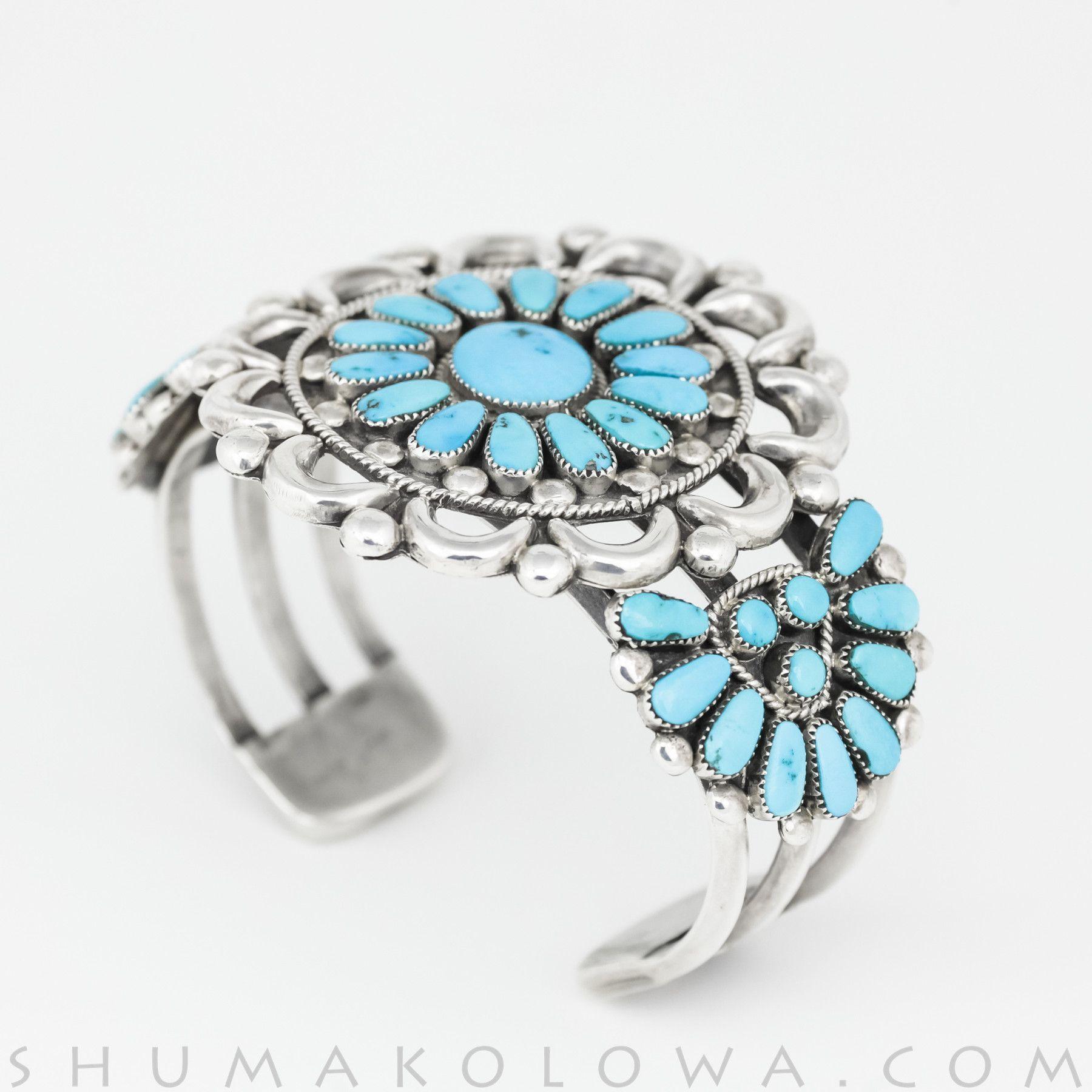 Julie Lahi Turquoise & Silver Zuni Cluster Bracelet