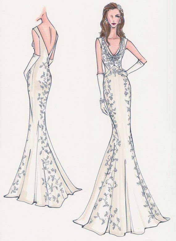 Plunging V-neck wedding dress, mermaid wedding dress pin from ...