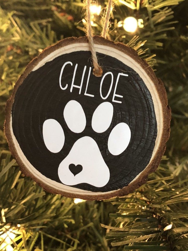 Rustic Country Pet Ornament Paw Print Pet Dog Cat Remembrance Gift Name Wood Log Personalized Ornament Wood Log Christmas Decor