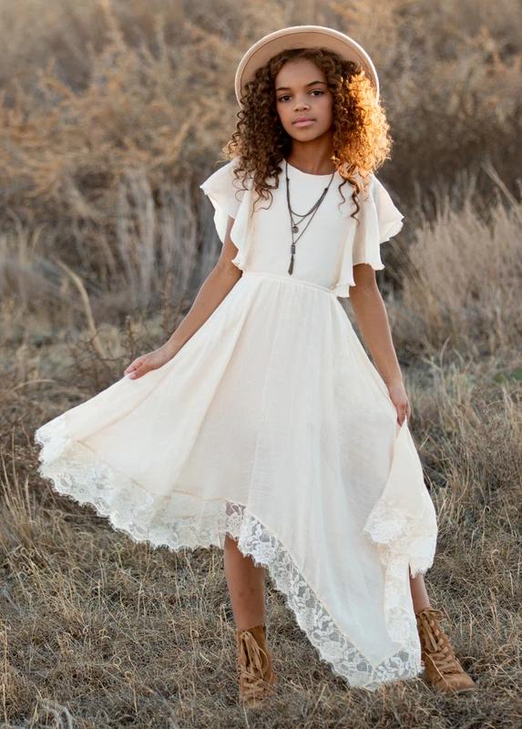 Lace flower girl dress Boho flower girl dress Bohemian flower girl dress Evie Dress Vintage lace flower girl dress Communion dress